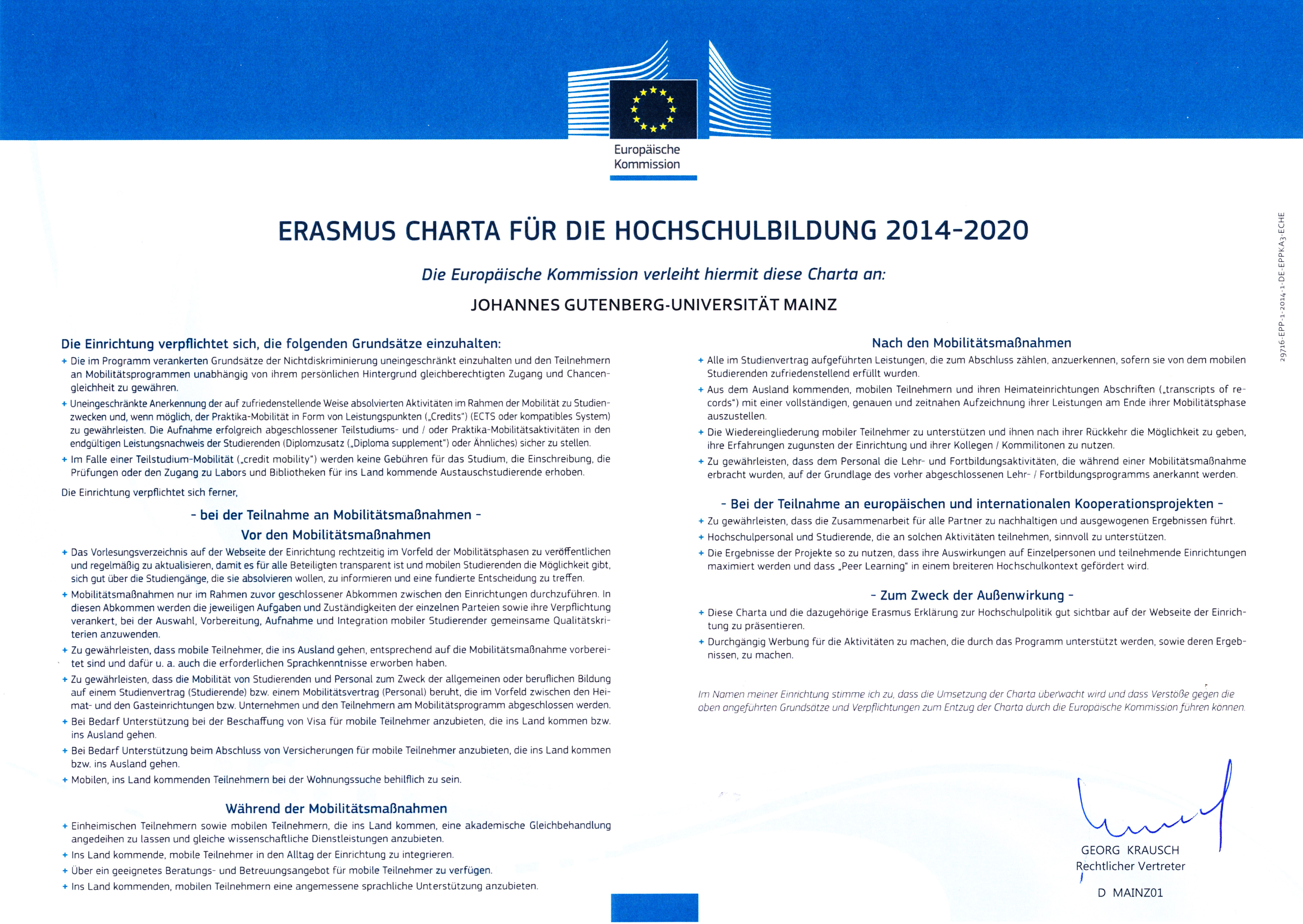 erasmus charter for higher education eche 2014 2020 - Uni Mainz Bewerbung